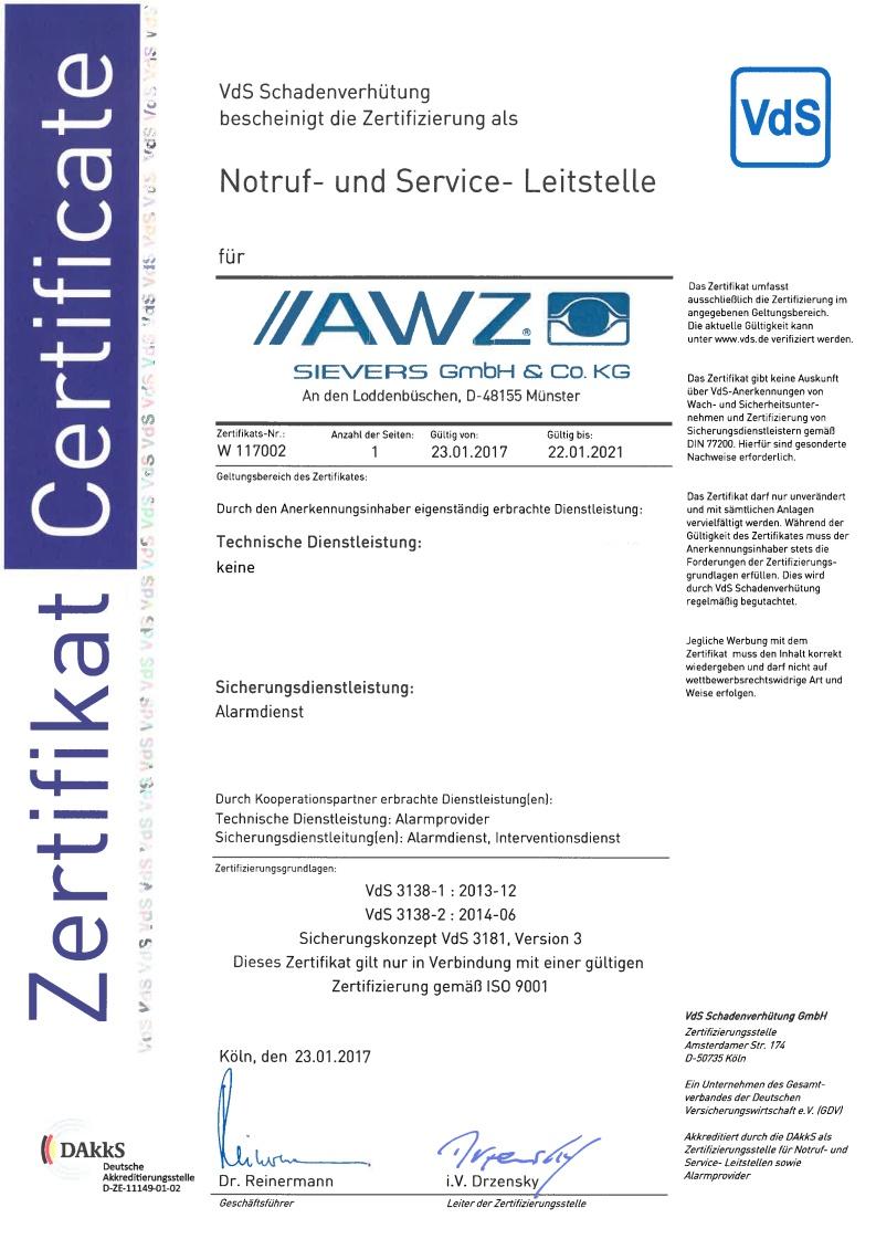 Notruf- und Service-Leitstelle (NSL) gem. VdS 3138