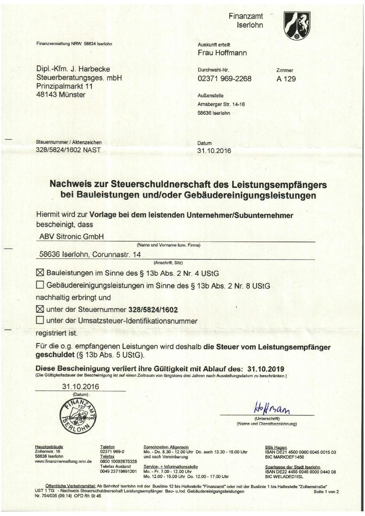 Nachweis zur Steuerschuldnerschaft des Leistungsempfängers bei Bauleistungen (§ 13b UStG) Münster