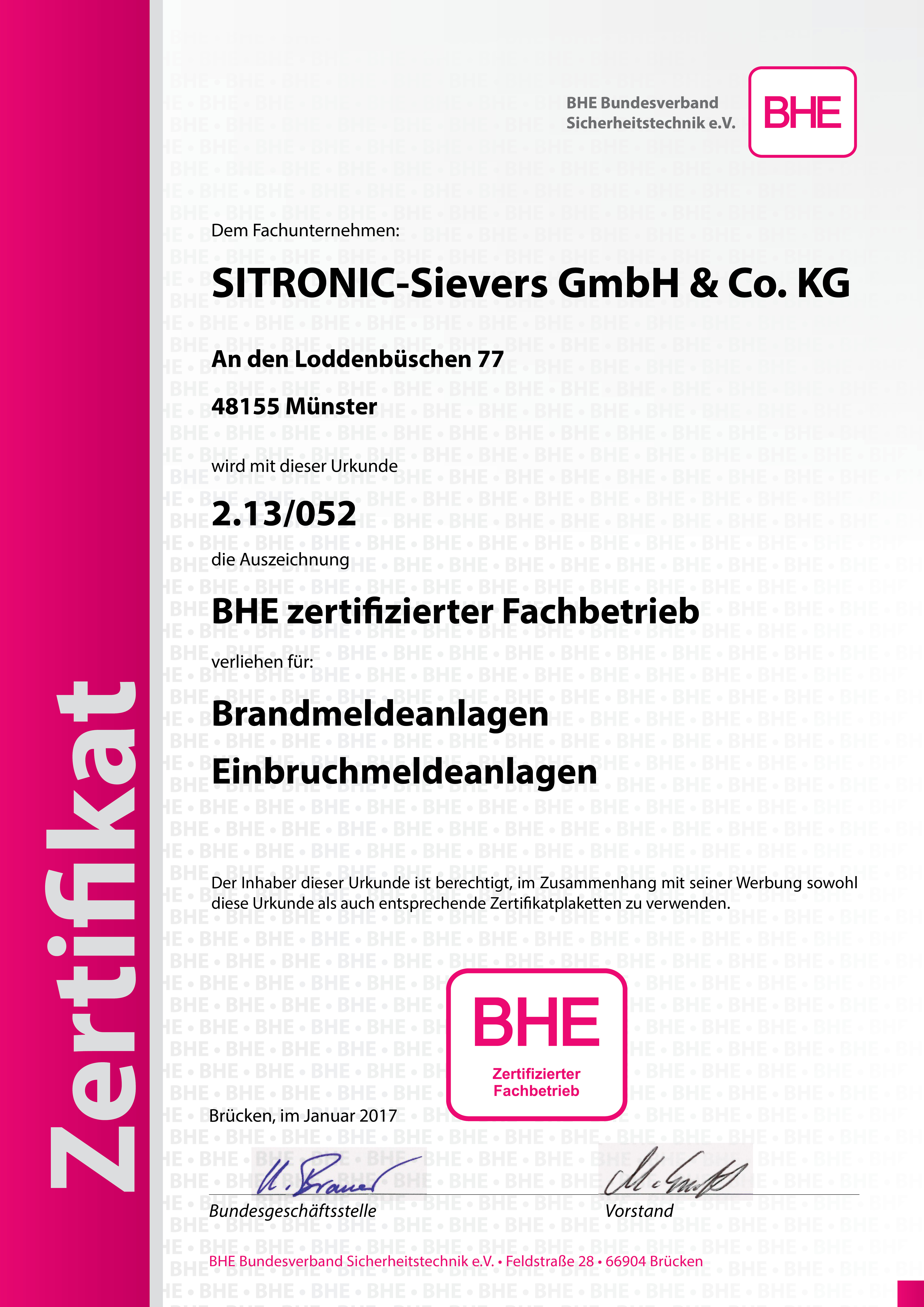 BHE Zertifikat