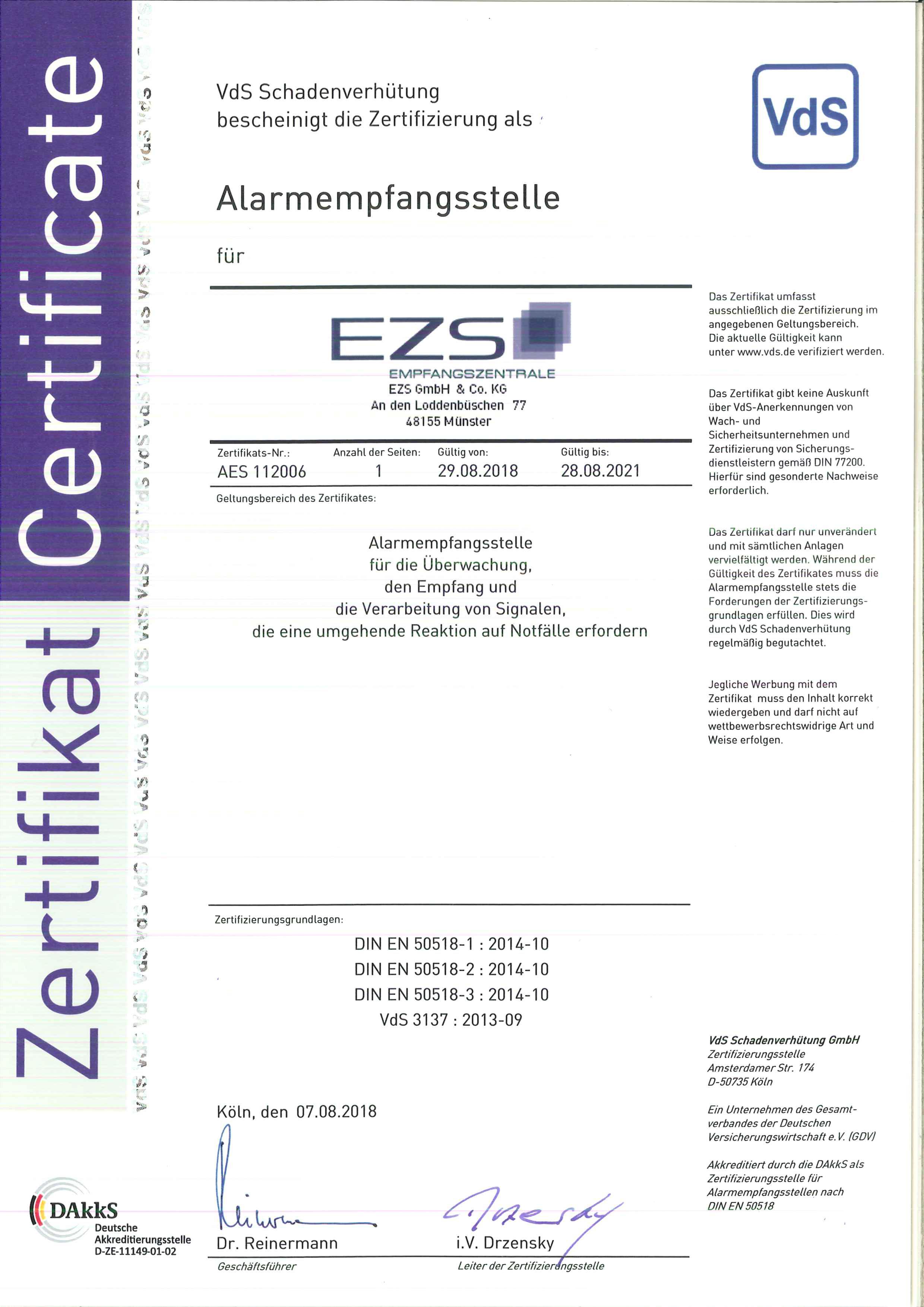 Alarmempfangsstelle (AES) gem. DIN EN 50518-Serie